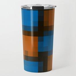 orange blue and black pixel background Travel Mug