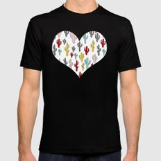 Colorful Cactus Pattern Black MEDIUM Mens Fitted Tee