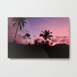 Palm-trees and hills in a tropical sunset Metal Print
