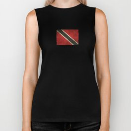 Old and Worn Distressed Vintage Flag of Trinidad and Tobago Biker Tank