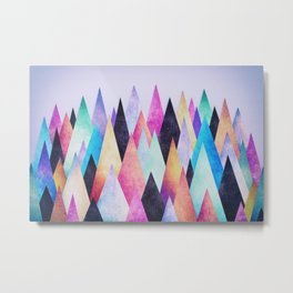 Colorful Abstract Geometric Triangle Peak Wood's  Metal Print