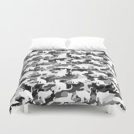Black and White Catmouflage Camouflage Duvet Cover