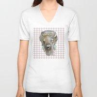 bison V-neck T-shirts featuring Bison by dogooder