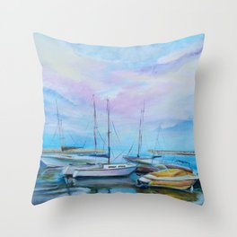 Morning boat pier Throw Pillow