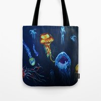 jelly fish Tote Bags featuring Jelly-Jelly-Fish by Fknjedi1