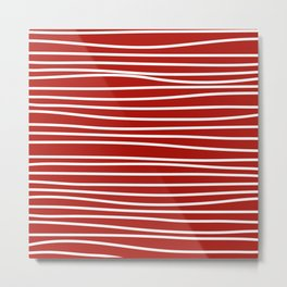 Red & White Maritime Hand Drawn Stripes- Mix & Match with Simplicity of Life Metal Print