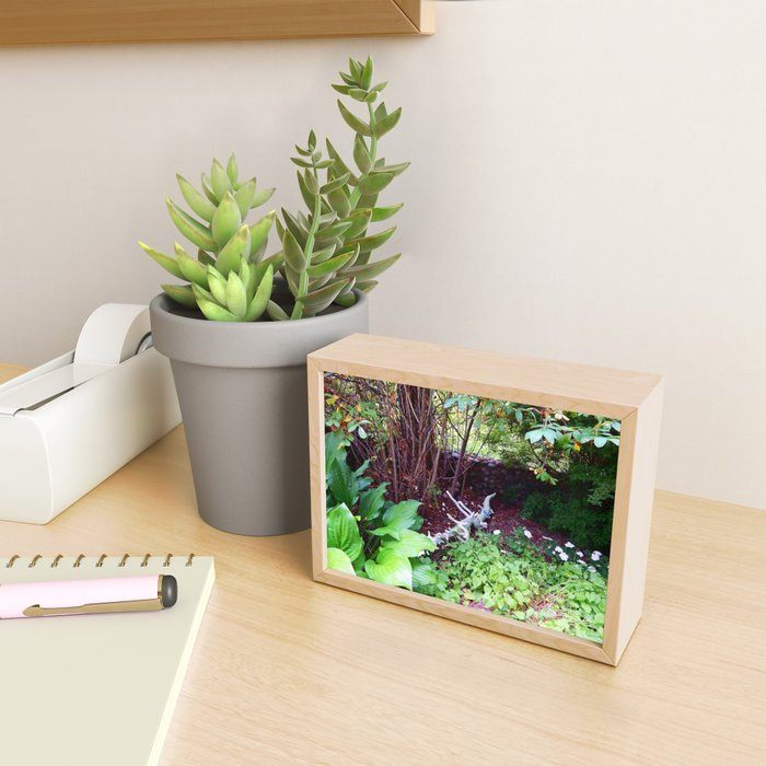 Painted Log in Garden Framed Mini Art Print