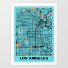 Los Angeles - Califonia Gloria City Map Art Print