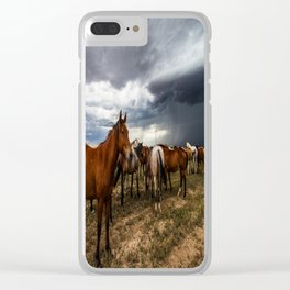 Pride - Horse Watches Over Herd as Storm Approaches Clear iPhone Case