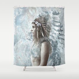 feather and the sea Shower Curtain