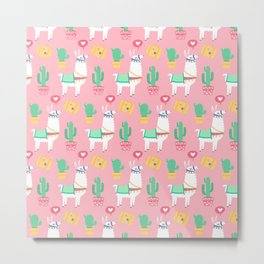 Cute Alpaca & Cactus Pattern Metal Print
