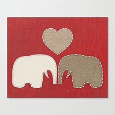 Appliqued Elephants Canvas Print
