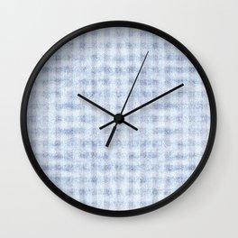 Pale Foam Blue Gingham Faux Suede Design Wall Clock