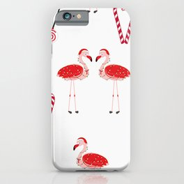 Red Flamingos With Candy. Happy New Year and Merry Christmas iPhone Case