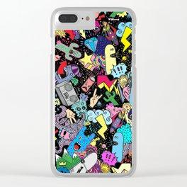 Cartoon Graffiti Neon Clear iPhone Case