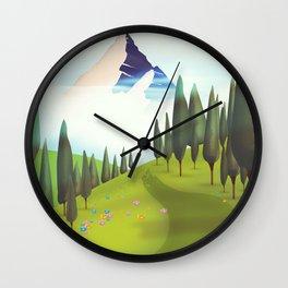 Alpine Meadow landscape Wall Clock