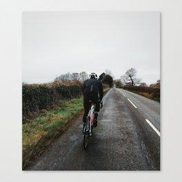 cycling on winter british lanes Canvas Print