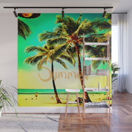 Green Yellow Vintage Palm Tree with Hawaii Summer Sea Beach Wall Mural