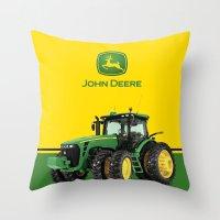 john green Throw Pillows featuring John Deere Green Tractor by rumahcreative