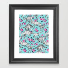 Dinosaurs and Roses - turquoise blue Framed Art Print