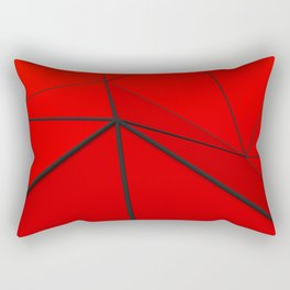 Red low poly displaced surface with black lines Rectangular Pillow