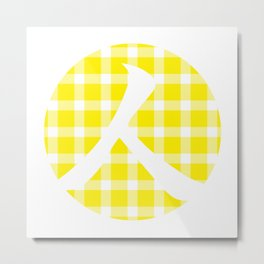 Plaid Canary Yellow Person Metal Print