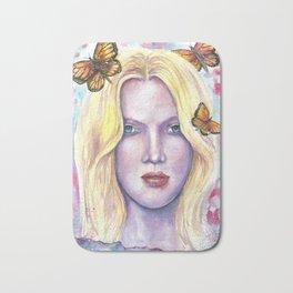 Women face Butterfly abstract print Bath Mat