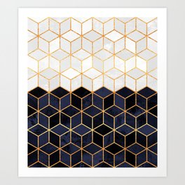 White & Navy Cubes Art Print