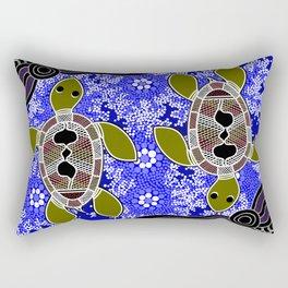 Authentic Aboriginal Art - Sea Turtles Rectangular Pillow