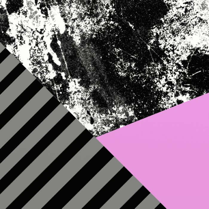 Geometric Abstract In Block Pink, Black And Gray Stripes And Abstract Black And White Comforters