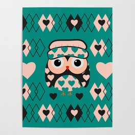Owl and heart pattern Poster
