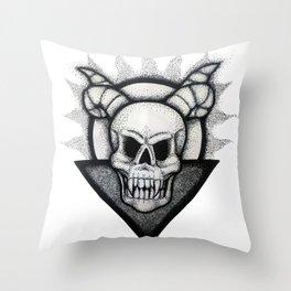 Demon Skull Throw Pillow