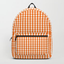 Dark Pumpkin Orange and White Gingham Check Pattern Backpack