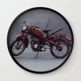Old motorcycle photography, old motorbike, man cave sign, garage wall art Wall Clock