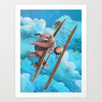Flying Walrus Art Print