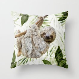Baby Sloth Just Hangin' Around Throw Pillow
