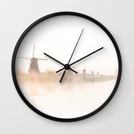 Kinderdijk white sunrise Wall Clock