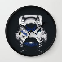 battlestar galactica Wall Clocks featuring Cafe Galactica by JoPruDuction Art