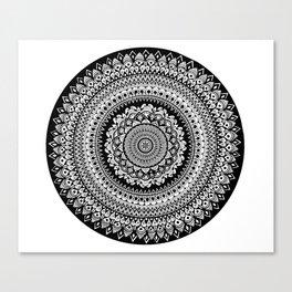 Black and White Radial Mandala Illustration Canvas Print
