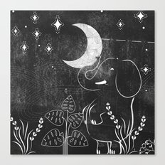 Elephant and Moon Canvas Print