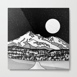 Mount Shasta Black and White Metal Print