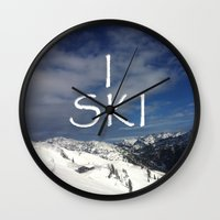ski Wall Clocks featuring I SKI by BACK to THE ROOTS