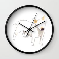 bull terrier Wall Clocks featuring Bull Terrier by jo clark
