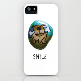 Smile Rock Cute Puppy with Bone Rock Painting by annmariescreations iPhone Case