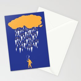 raining umbrellas Stationery Cards