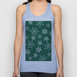 Snowflakes On Green Background Unisex Tank Top