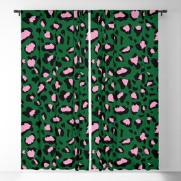Leopard Print - green and pink Blackout Curtain