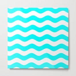 Wavy Stripes (Aqua Cyan/White) Metal Print