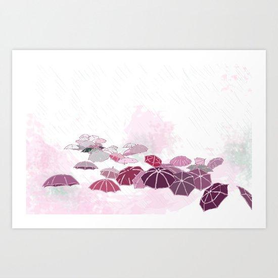Rainy day in pink Art Print