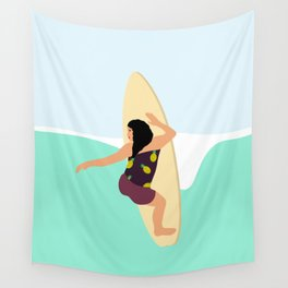 A beautiful woman surfing the waves Wall Tapestry